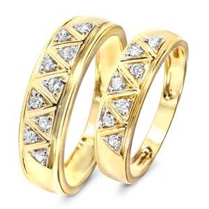 trio wedding sets 1 3 carat t w his and hers wedding band set 14k yellow gold my trio rings wb137y14k