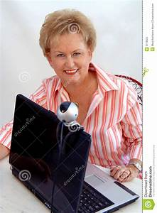 Senior woman using webcam stock image. Image of connect ...