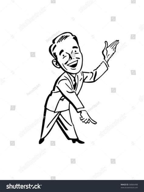 pointing man presenter retro clip art stock vector