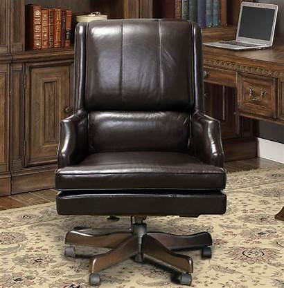 Chair Leather Office Desk Genuine Brown Traditional
