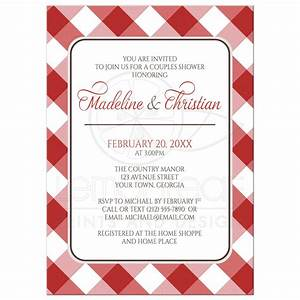 Couples Shower Invitations - Red Gingham Country