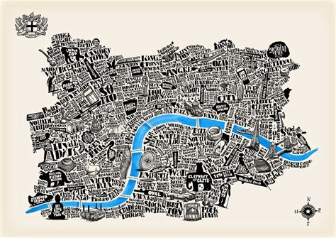 special edition typographical map of london ivory paper great little print store