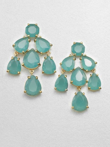 kate spade faceted chandelier earrings in green lyst