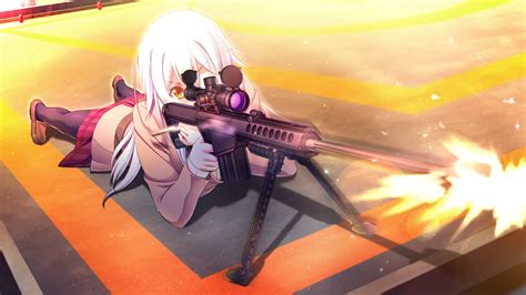 wallpaper gun long hair white hair anime girls