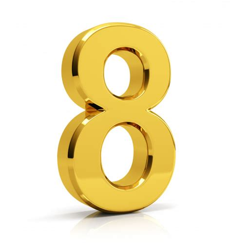 gold color number gold number 8 photo premium
