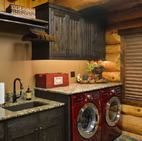 rustic cabinets for laundry room rustic laundry room decor with natural cherry cabinets