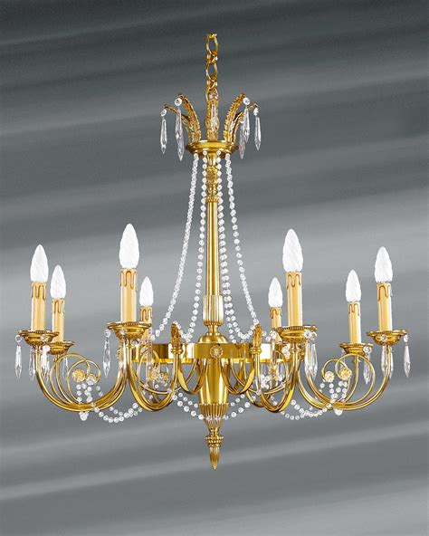 lustre en cristal de boheme lustre louis xvi dor 233 cristal de boh 232 me en perles huit lumi 232 res lucien gau luminaires