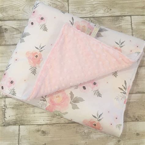 shabby chic blanket sweet roses baby blanket quilt playmat cot bedding shabby chic floral roses pink grey