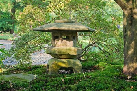 japanese garden lantern stock photo colourbox