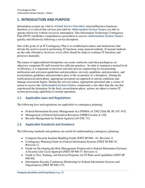 Information Technology Contingency Plan (template