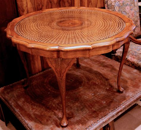 table glass for sale vintage french walnut coffee table with cane and glass top