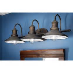 farmhouse style vanity lights shop allen roth 3 light hainsbrook aged bronze bathroom