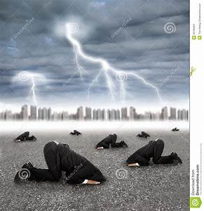 Scared Businessman Hiding On The Ground With Storm Stock ...