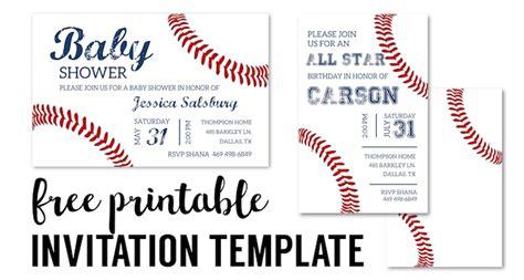 baseball party invitations  printable paper trail design