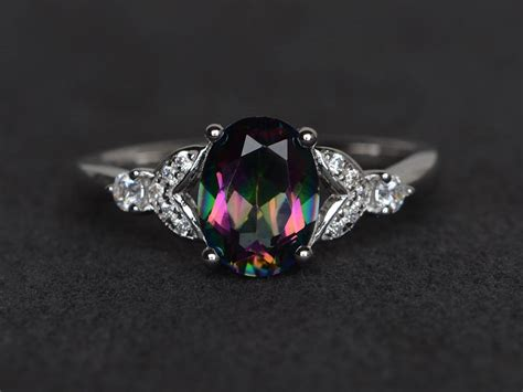 Mystic Topaz Ring Rainbow Topaz Ring Oval Cut Engagement