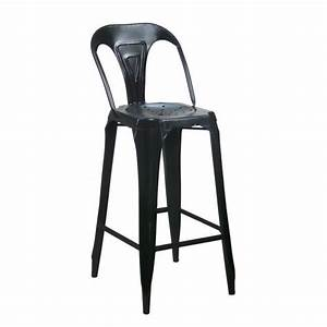 Tabouret De Bar Avec Dossier : tabouret de bar avec dossier en acier style industriel noir achat vente tabouret de bar noir ~ Teatrodelosmanantiales.com Idées de Décoration