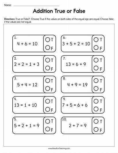 Worksheet False True Addition Grade Math Resources