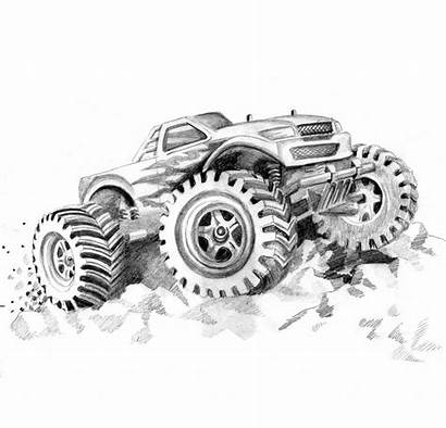 Monster Coloring Truck Pages Printable Drawing Trucks