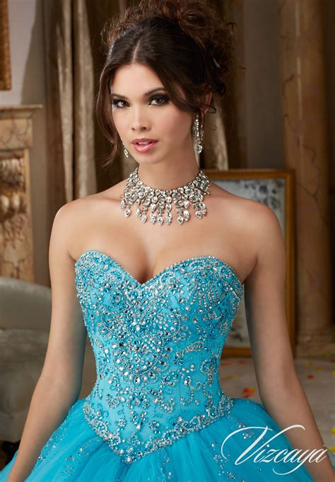 beading   tulle quinceanera dress style  morilee