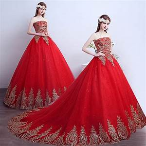 2016 red gold vintage appliques ball gown wedding dresses With red strapless wedding dresses