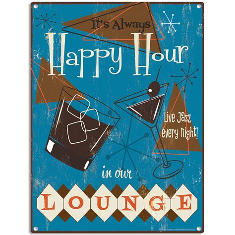 hour lounge 50s style populuxe metal sign bar