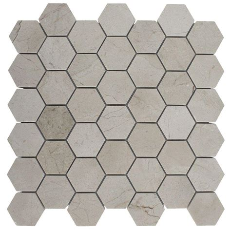 home depot hexagon marble tile splashback tile crema marfil hexagon 12 in x 12 in x 8