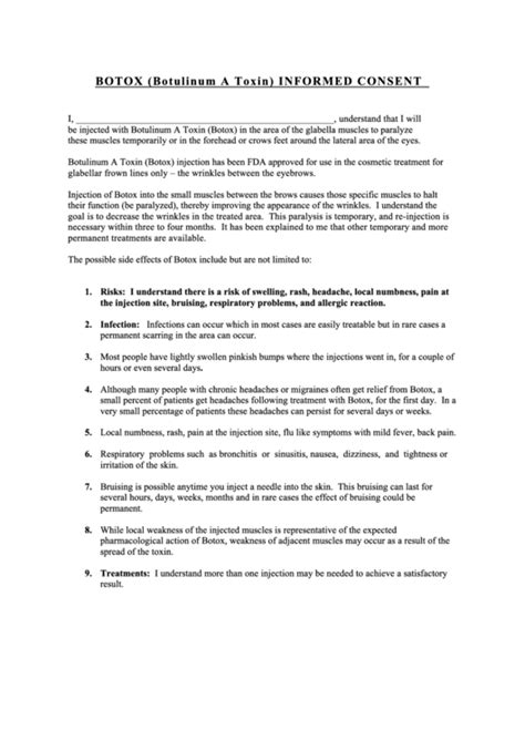 botox botulinum  toxin informed consent printable