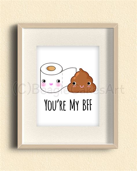 friends giclee illustration print kawaii poop art