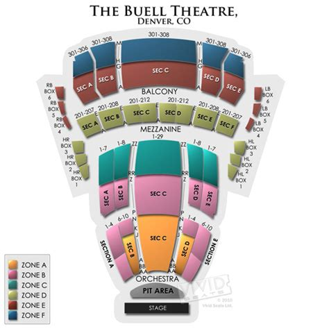 buell theatre  buell theatre information buell theatre seating chart