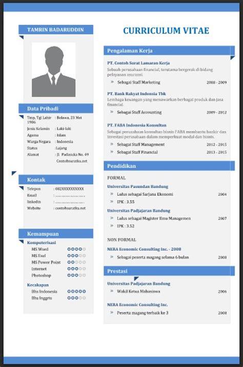 contoh resume cv yang baik contoh cv curriculum vitae yang baik menarik dan benar file word contoh surat lamaran kerja