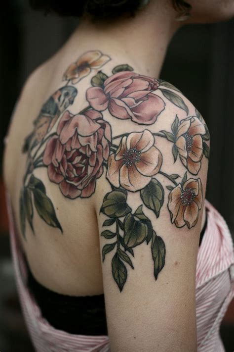 shoulder flower tattoos designs ideas  meaning