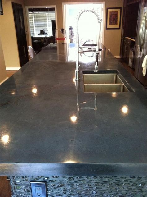 polished concrete countertops  pinterest white