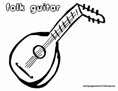 Guitar Coloring Acoustic Instrument Musical Pages Printables