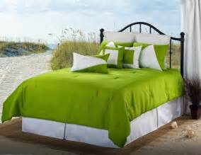 4pc white green solid color nautical style linen weave comforter set queen ebay