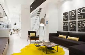 Modern Black House Bright Accents Black White And Yellow Color Combination For Contemporary Apartment