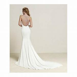 pronovias crepe style dreba wedding dress in back detail With in wedding dress