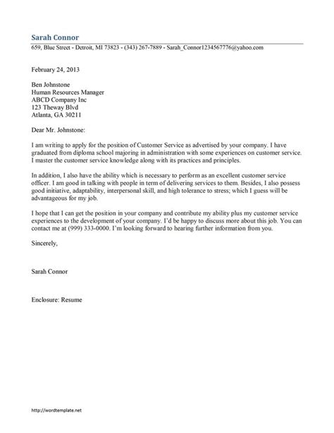 Free Cover Letters For Applications by Customer Service Cover Letter Template Free Microsoft Word