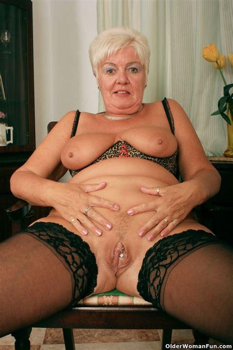 Grandma Sandie in black stockings - Pichunter