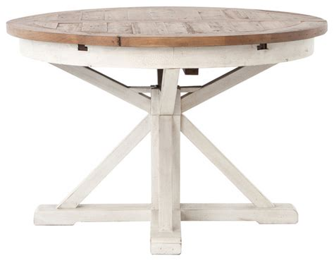 white wood round dining table coastal beach reclaimed wood white expandable round dining
