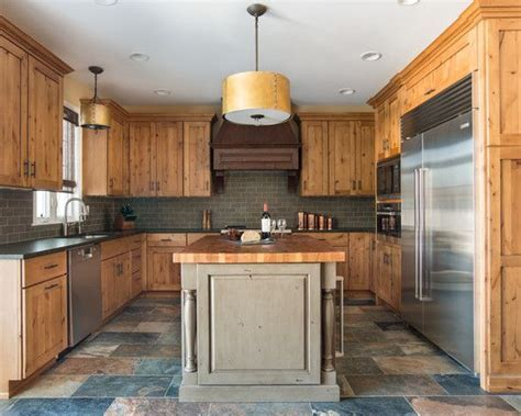 Furniture, Attractive Rustic Kitchen With Knotty Pine