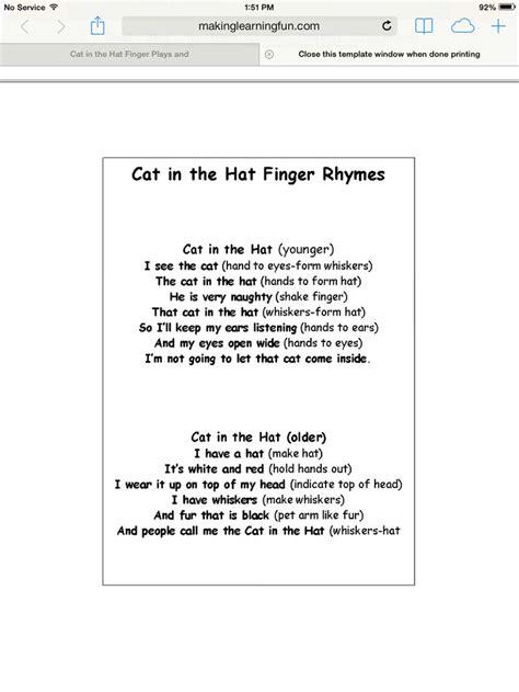 dr seuss songs preschool cat in the hat fingerplay dr seuss curriculum 825