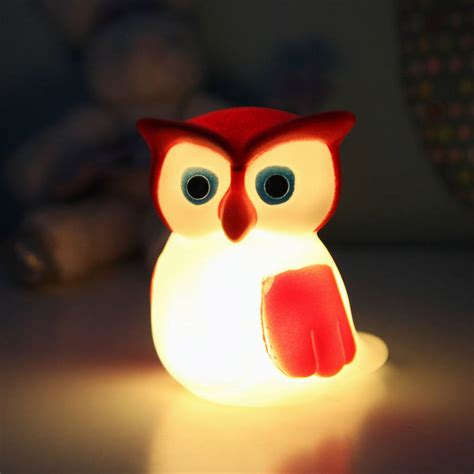 cute owl night light  red berry apple