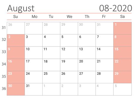 august  calendar united states