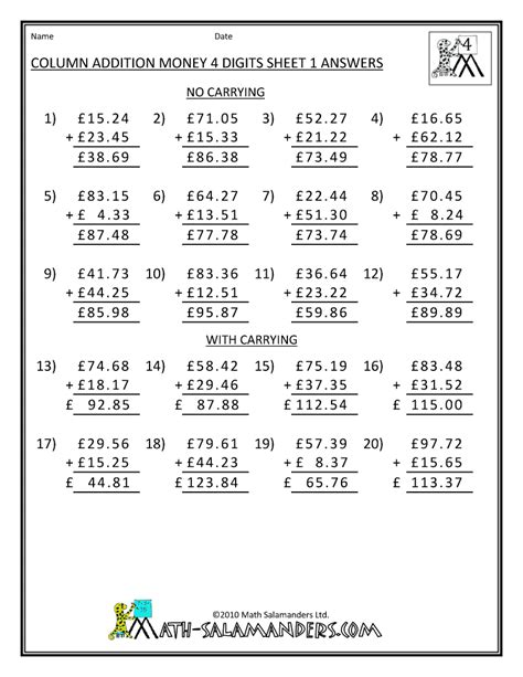 addition worksheets year 4 worksheet mogenk paper works