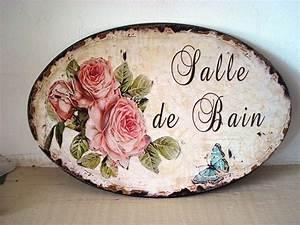Aux Portes De La Deco : plaque de porte aux roses salle de bain d co de charme ~ Nature-et-papiers.com Idées de Décoration