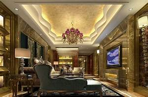 Luxurious gypsum ceiling decoration for villa living room for Gypsum ceiling designs for living room