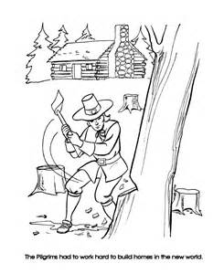 Pilgrims First Thanksgiving Coloring Pages