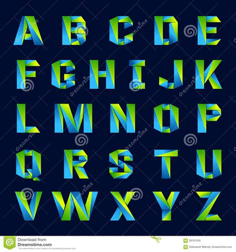 fun english alphabet  colorful letters green stock