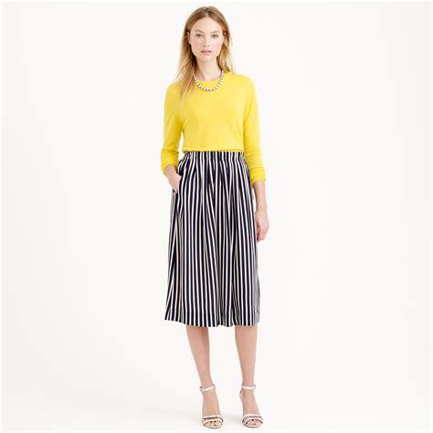 j crew pleated midi skirt in stripe in blue lyst