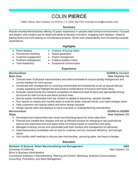 merchandiser retail representative part time resume sle